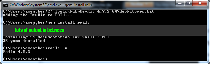 console that loads the devkitvars and then proceeds to install rails