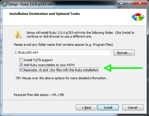 "RubyInstaller on Windows, with ""add ruby executable to PATH"" and ""Associate RB files with this installation"" checked"